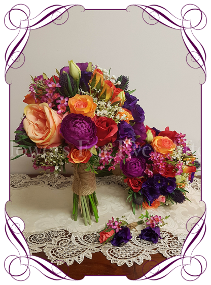 Vibrant colourful silk artificial wedding bouquet set / package. A posy of mixed textures and blooms in a colorful mix. With ranunculi, roses, thistle, berries, baby's breath, in pink, coral, orange, red, purple and magenta colours.