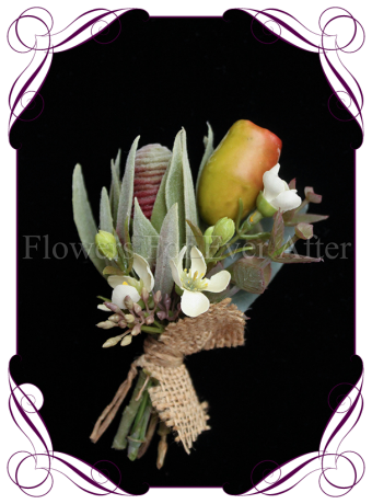 native Australian silk wedding / formal / deb / prom ladies pin corsage with gumnuts and protea bud.