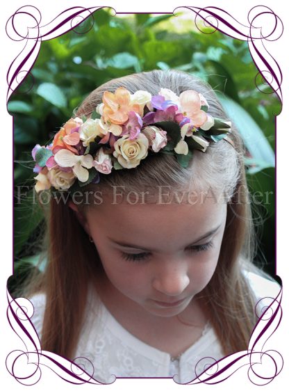 Autumn Fall pastel flower girl headband floral hair piece. Silk hydrangea and artificial roses. Buy online, Ship world wide.