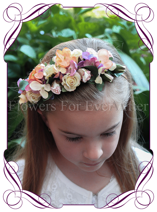 Autumn Fall pastel flower girl headband floral hair piece. Silk hydrangea  and artificial roses. 2ef56e5a368