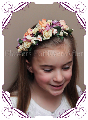 Autumn Fall pastel on rose gold flower girl headband floral hair piece. Silk hydrangea and artificial roses. Buy online, Ship world wide.