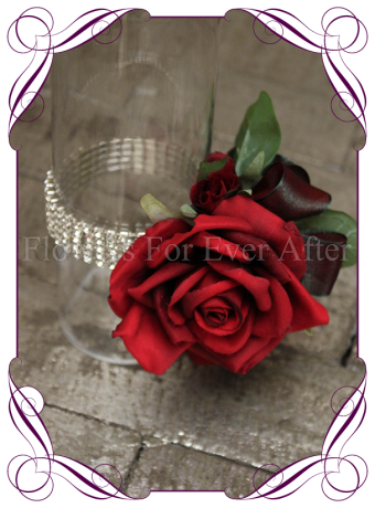 silk artificial red rose design for a formal / deb / prom / wedding ladies wrist corsage . Shipping world wide. Made in Melbourne Australia.