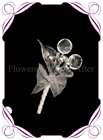 artificial silver clear and white bling formal / deb / prom / wedding gents grooms button boutonniere . Shipping world wide. Made in Melbourne Australia.