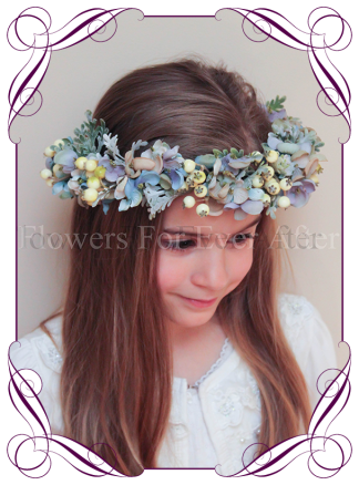 Whimsical garden style flower girl floral hair crown / halo. Silk hydrangea and artificial berries. Buy online, Ship world wide.
