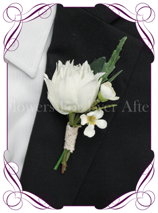 native Australian silk wedding / formal / deb / prom gents button boutonniere with australian gum and blushing bride protea bud.