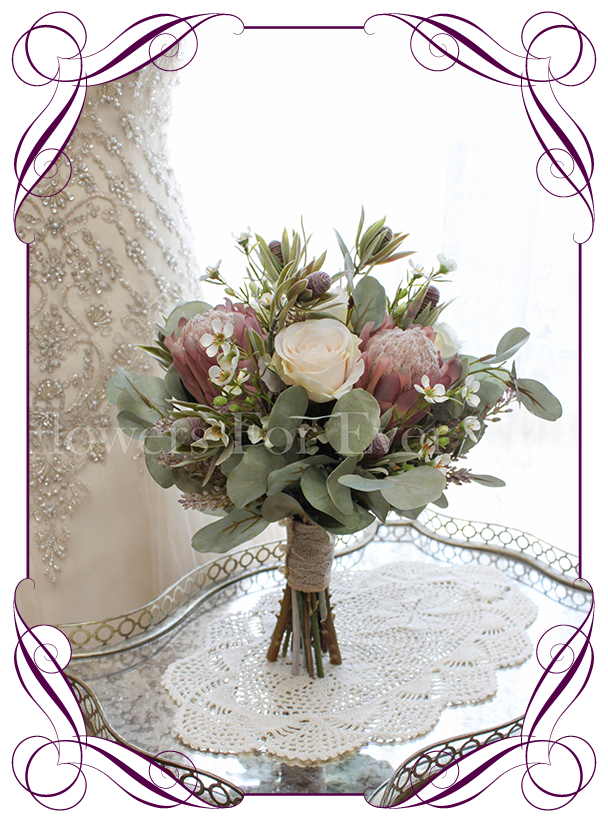 Erin package flowers for ever after artificial wedding flower high quality realistic silk artificial bridal wedding bouquet with pink protea blush ivory roses and mightylinksfo