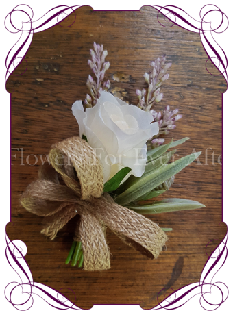 Ladies silk artificial pinned corsage for weddings and formal / deb events. With ivory rose, protea buds and mauve lavender spray with burlap braided ribbon work. Buy online.