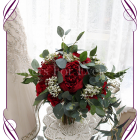 silk artificial baby's breath and red roses / peonies / native pin cushion with Australian native gum leaves and blue gum foliage. Shipping world wide. Made in Melbourne Australia.