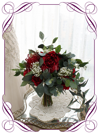 silk artificial bridal wedding bouquet posy with baby's breath and red roses / peonies / native pin cushion with Australian native gum leaves and blue gum foliage. Shipping world wide. Made in Melbourne Australia.