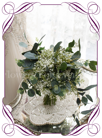 silk artificial baby's breath and Australian native gum leaves artificial wedding bridesmaid bouquet / posy. Shipping world wide. Made in Melbourne Australia.