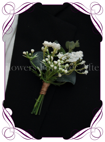 silk artificial baby's breath formal / deb / prom / wedding gents grooms button boutonniere . Shipping world wide. Made in Melbourne Australia.