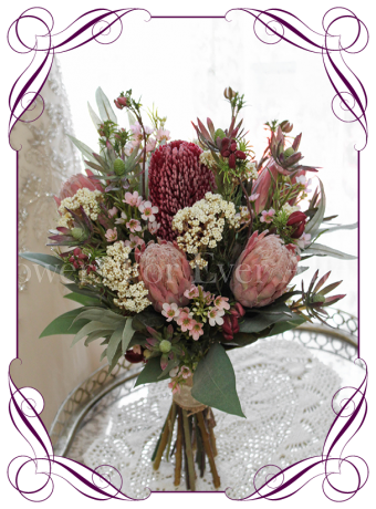 High quality realistic silk artificial bridal posy wedding bouquet with burgundy banksia, dusty pink protea, mix Australian native flowers and gum leaves. Made in Melbourne Australia, shipped world wide. Buy online.