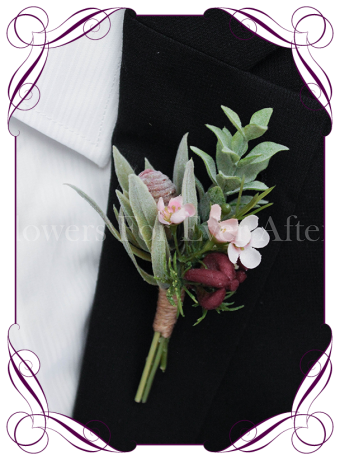 native Australian silk wedding / formal / deb / prom gents / groom / groomsmans button boutonniere with pink wax flowers and protea bud.