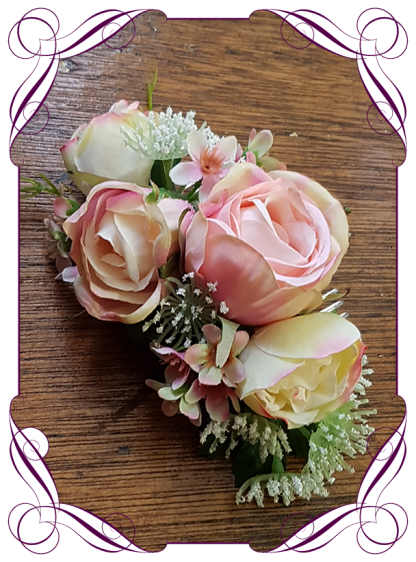 pink and ivory pastel bridal hair comb. Floral hair comb ideal for weddings or special occasions. Silk artificial flowers. Made in Melbourne, shipping worldwide