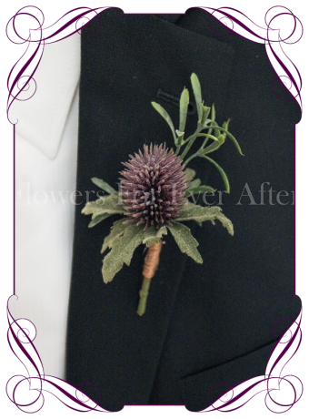 silk artificial thistle in a rustic style for a formal / deb / prom / Scottish wedding gents grooms button boutonniere . Shipping world wide. Made in Melbourne Australia.