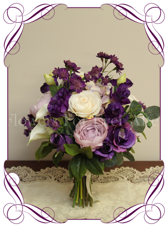 Silk artificial purple lilac and white bridal wedding flowers posy bouquet with roses, peonies and calla lilies. Made in Australia, buy online