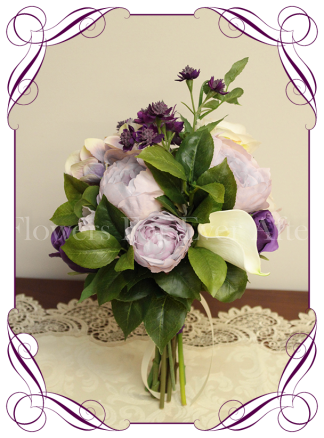 Silk artificial purple lilac and white bridesmaid wedding flowers posy bouquet with roses, peonies and calla lilies. Made in Australia, buy online