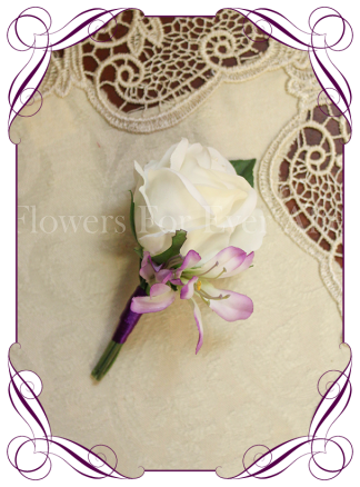 White and lilac purple silk wedding / formal / deb / prom gents / groom / groomsmans button boutonniere