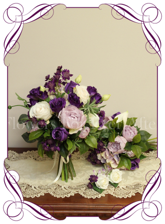 Silk artificial purple lilac and white bridal wedding flowers posy bouquet set / package with roses, peonies and calla lilies. Made in Australia, buy online