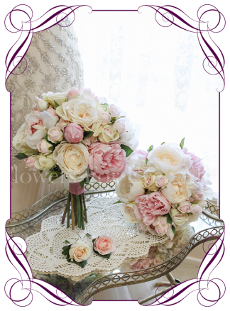 An elegant and romantic silk artificial wedding flower bouquet package / set with pastel colours in blush, pink, off white / ivory. With peonies, roses, protea buds and orchids. Classic and sweet. Shipping world wide. Buy online