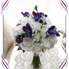 Silk artificial fake purple and blue galaxy dendrobium orchid, white roses and baby's breath wedding bridesmaid posy bouquet. Buy online