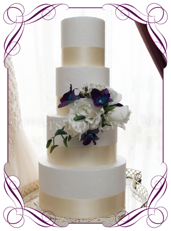 Silk artificial fake purple and blue galaxy dendrobium orchid, white roses and baby's breath cake topper decoration for wedding / engagement / kitchen tea / birthday cake. Buy online