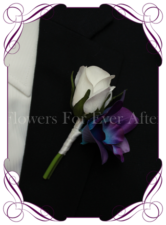 Silk artificial fake purple and blue galaxy dendrobium orchid gents / groom / groomsmans button boutonniere flower for wedding / deb / formal / prom