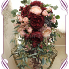 Silk artificial rustic cascading showering bridal tear bouquet with burgundy and apricot pink roses, peonies, gum nuts and native Australian foliage.