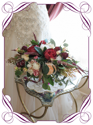 Silk artificial elegant yet unusual burgundy cream and native wedding bridal rustic bouquet with peonies and roses. Made in Australia. Buy online.