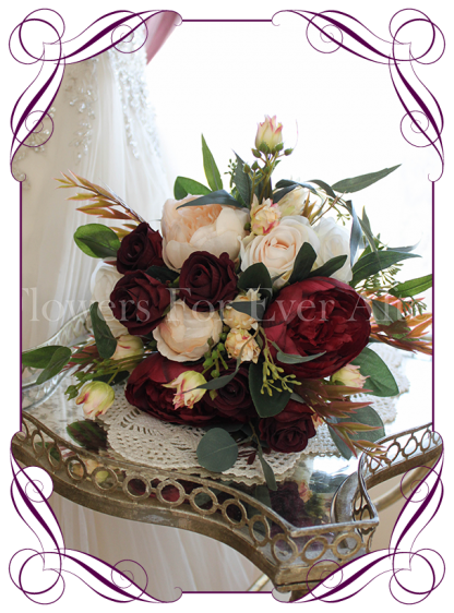 Silk artificial elegant yet unusual burgundy cream and native wedding bridesmaid posy rustic bouquet with peonies and roses. Made in Australia. Buy online.