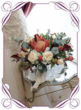 Silk artificial elegant rustic burgundy cream and orange native wedding bridal rustic bouquet with peonies, Japanese lanterns, natives and roses. Made in Australia. Buy online.