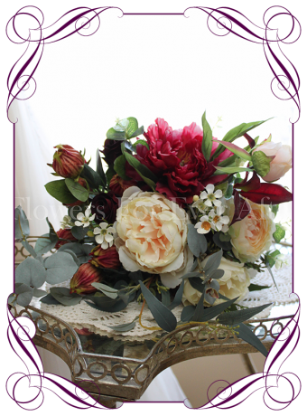 Silk artificial elegant rustic burgundy cream and native wedding bridesmaid rustic bouquet with peonies, Japanese lanterns, natives and roses. Made in Australia. Buy online.