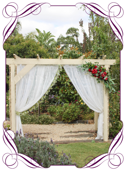 Silk artificial corner style red hydrangea, baby's breath and rose wedding arbor arch table decoration. Can be a package with matching tieback flowers. Made in Australia. Buy online.
