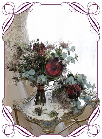 A dark red protea Australian native silk artificial bridal posy bouquet flowers set / package. Earthy wood forest feel in a rustic bouquet design. Made in Melbourne. Ship worldwide. Buy online.