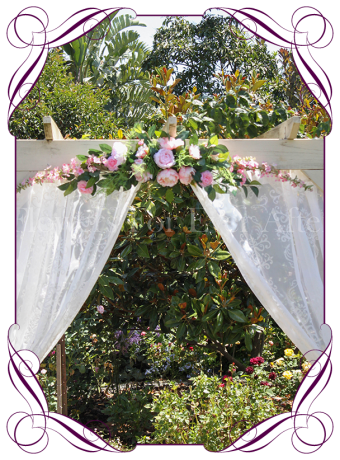 Silk artificial pink peony wedding arbor arch table decoration. Can be a package with matching tieback flowers. Made in Australia. Buy online.