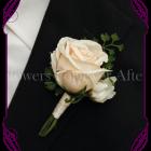 silk artificial fake mens / groom / groomsman wedding buttonhole flower boutonniere. Formal Prom gents flower