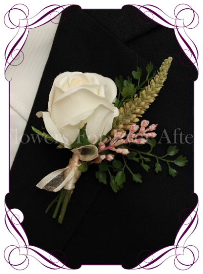 silk artificial fake mens / groom / groomsman wedding buttonhole flower boutonniere. Formal Prom gents flower