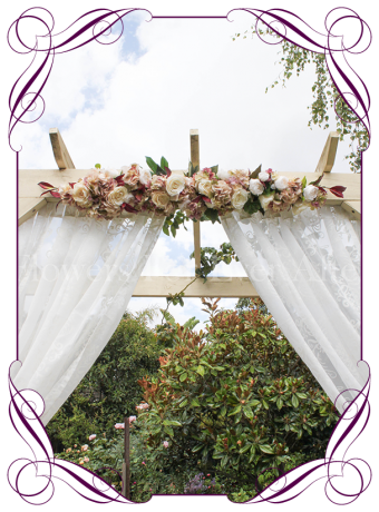 Silk artificial vintage pastel cream and burgundy wedding arbor arch table decoration. Can be a package with matching tieback flowers. Made in Australia. Buy online.