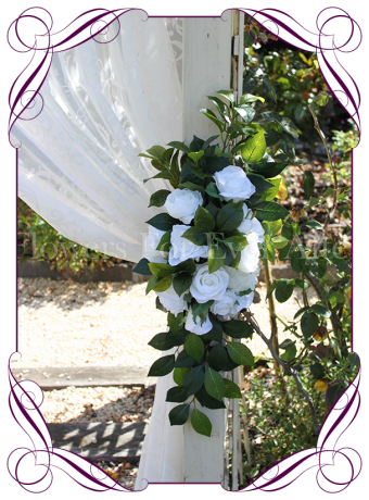 Silk artificial white hydrangea and rose wedding arbor arch table decoration. Can be a package with matching tieback flowers. Made in Australia. Buy online.