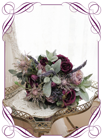 Silk artificial deep tone vintage style bridesmaid posy for purple lilac or navy wedding themes, with roses, peonies, navy berries, native gum leaves.