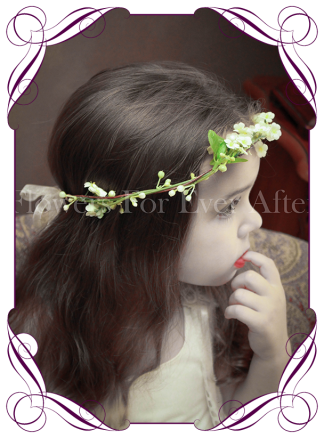Silk artificial white boho rustic wedding flowergirl / flower girl hair crown / halo with fine dainty white flowers.