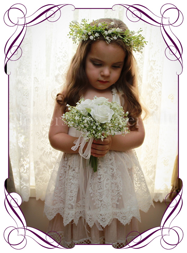 Andrea White Flower Girl Posy Gorgeous Artificial Bridal