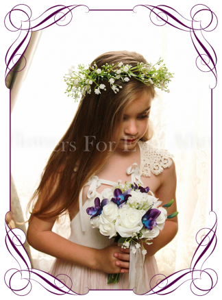 Silk artificial wedding flower girls posy bouquet with roses and galaxy blue orchids with baby's breath.