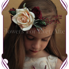 Silk artificial boho rustic wedding flowergirl / flower girl hair crown / halo with blush rose, burgundy roses and fine red berries.
