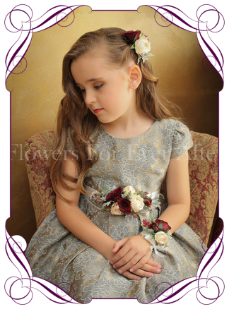 Silk artificial flower girl / flowergirl belt / sash wedding or formal dress flowers with burgundy and cream colours.