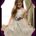Silk artificial flower girl / flowergirl belt / sash wedding or formal dress flowers with deep purple and cream colours.