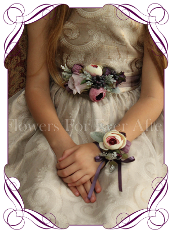 Silk artificial flower girl / flowergirl belt / sash wedding or formal dress flowers with deep purple and cream colours.