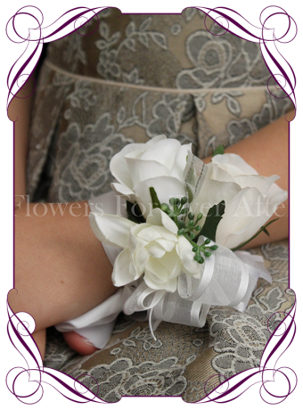 Silk artificial white rose ladies wrist corsage on ribbon for wedding / deb/ prom / formal