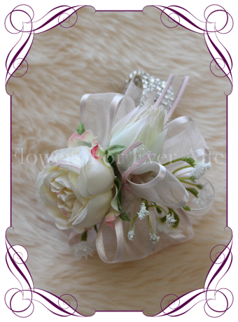 Silk artificial cream blush ladies formal / wedding / prom wrist corsage set on bling bracelet. Made in Australia, Buy online