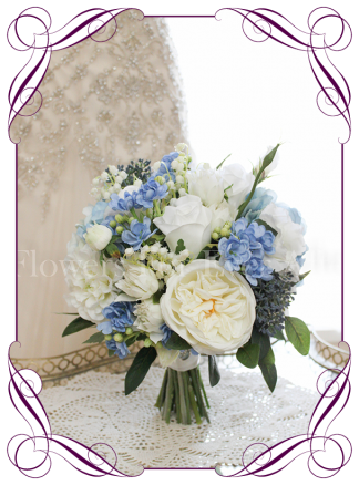 Silk artificial bridal posy bouquet with light blue, navy and white flowers for wedding bridal work. With hydrangea, dahlia, roses, lily of the valley. Buy online. Made in Melbourne.